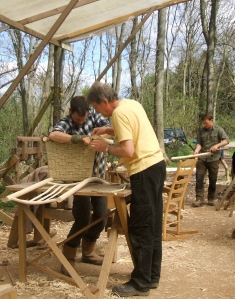 James helping Ian to finish the kambaa seat on his high lath-back chair