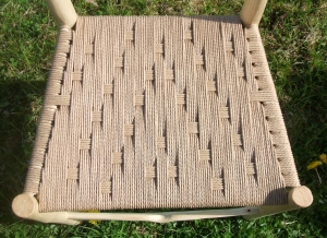 Phil's seat with Danish cord in a woven Irish pattern.