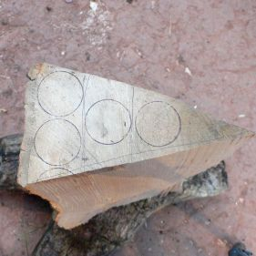 A third of a quarter, marked for cleaving