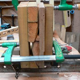 A set of laths in their bending jig