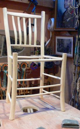 The chair frame assembled