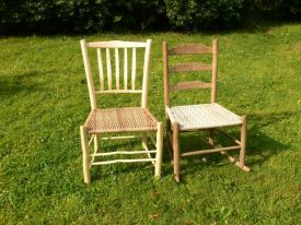Hannah's 'settin chair' made on the last course alongside a 'wee wor' made by assistants at Brookhouse Wood.
