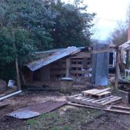 Demolishing the end of the old shed