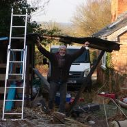 Slicing the front off the old shed