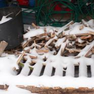 kindling wood covered with snow